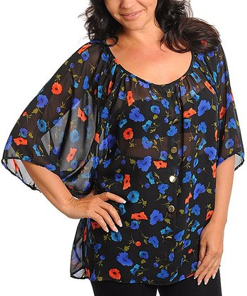 Black & Blue Sheer Floral Cape-Sleeve Top - Plus