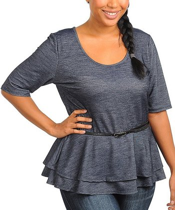 Blue Denim Belted Peplum Top - Plus