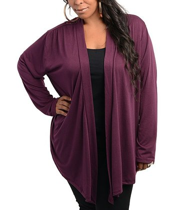 Purple Crocheted-Back Open Cardigan - Plus