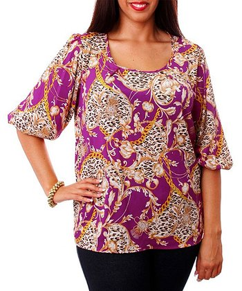 Purple & Gold Status Half-Sleeve Top - Plus