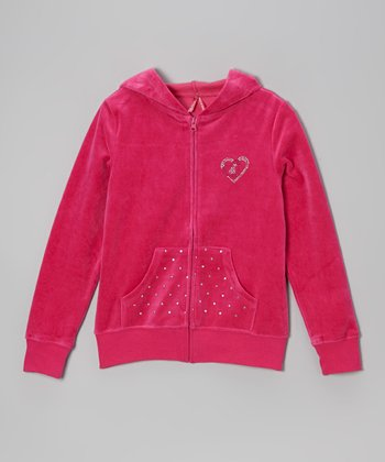 Fuchsia Studded Velour Zip-Up Hoodie - Toddler & Girls