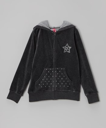 Gray Studded Velour Zip-Up Hoodie - Toddler & Girls