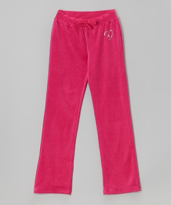 Fuchsia Studded Velour Warm-Up Pants - Toddler & Girls