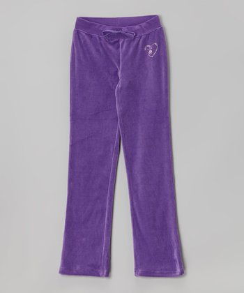 Purple Studded Velour Warm-Up Pants - Toddler & Girls