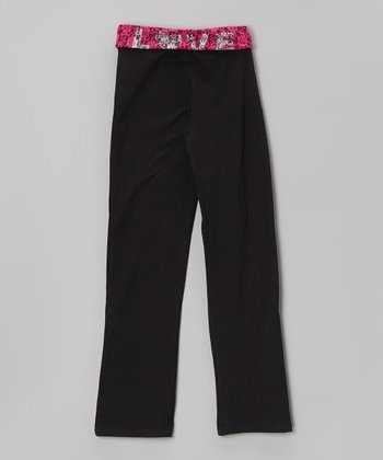 Black & Fuchsia Floral Yoga Pants - Girls