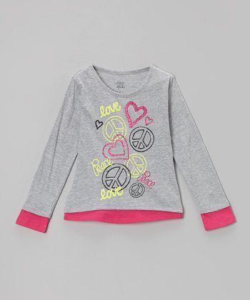 Gray & Pink 'Love Peace' Sweatshirt - Girls