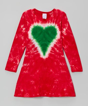 Red & Green Jolly Heart A-Line Dress - Toddler & Girls