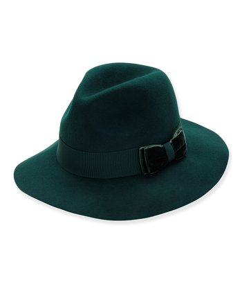 Forest Green Velvet Bow Wool Fedora