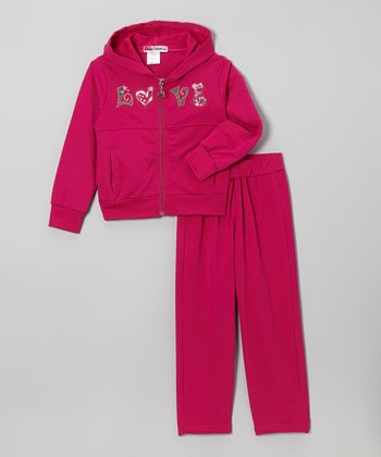 Magenta 'Love' Zip-Up Hoodie & Pants - Toddler & Girls