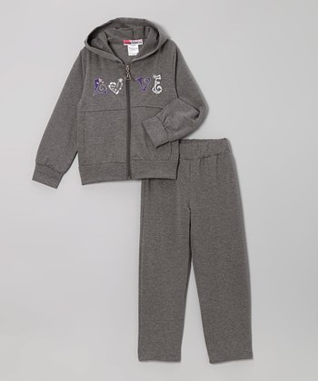 Gray 'Love' Zip-Up Hoodie & Pants - Toddler & Girls