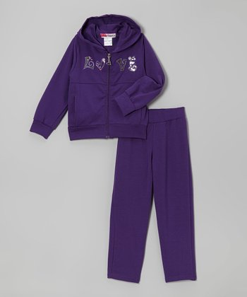 Purple 'Love' Zip-Up Hoodie & Pants - Toddler & Girls