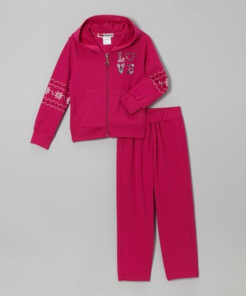 Magenta Metallic 'Love' Zip-Up Hoodie & Pants - Toddler & Girls