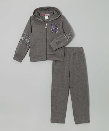 Gray Metallic 'Love' Zip-Up Hoodie & Pants - Toddler & Girls