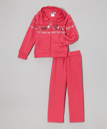 Pink 'Sweet Love' Zip-Up Hoodie & Pants - Toddler & Girls