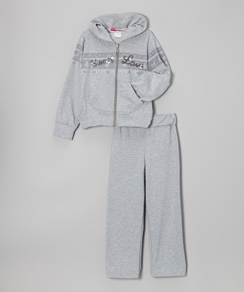 Gray 'Sweet Love' Zip-Up Hoodie & Pants - Toddler & Girls