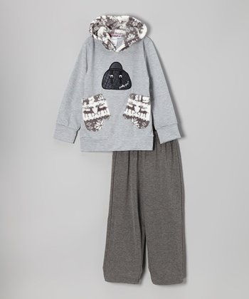 Gray Mittens Hoodie & Pants - Toddler & Girls