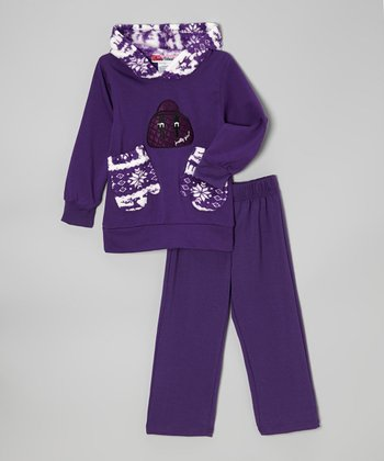 Purple Mittens Hoodie & Pants - Toddler & Girls