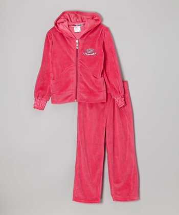 Pink Crown Zip-Up Hoodie & Pants - Toddler & Girls