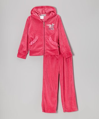 Pink 'Dance' Zip-Up Hoodie & Pants - Toddler & Girls