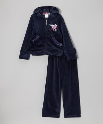 Blue 'Dance' Zip-Up Hoodie & Pants - Toddler & Girls