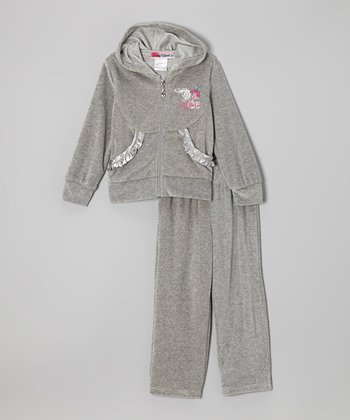 Gray 'Dance' Zip-Up Hoodie & Pants - Toddler & Girls
