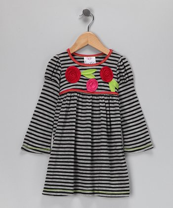 Black & Gray Stripe Dress - Girls