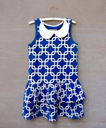 Mazarine Blue Jada Peter Pan Drop-Waist Dress - Toddler & Girls