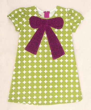 Citron Dot Mod Bow Dress - Toddler & Girls