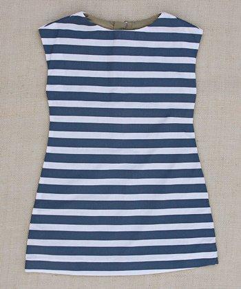 Navy Allie Stripe A-Line Dress - Infant, Toddler & Girls