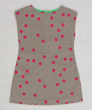 Tan & Magenta Allie Dot A-Line Dress - Infant, Toddler & Girls