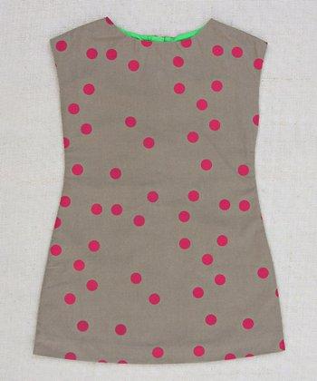 Tan & Magenta Allie Dot A-Line Dress - Infant, Toddler & Girls