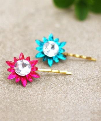Blue & Pink Rhinestone Hairpin Set