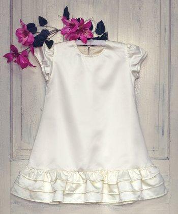 Cream Satin Lenah in Gardenia Dress - Toddler & Girls