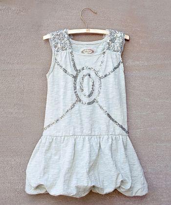 Silver Sabine Bubble Dress - Toddler & Girls