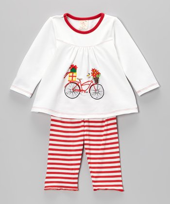 White & Red Bike Top & Stripe Pants - Infant & Toddler