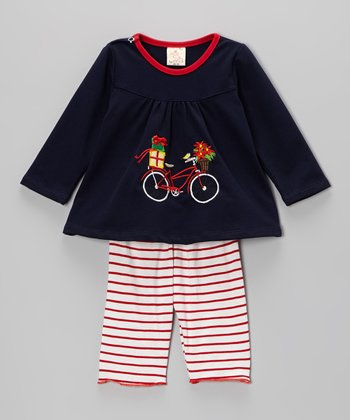 Navy & Red Bike Top & Stripe Pants - Infant & Toddler