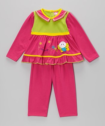 Green & Hot Pink Butterfly Top & Pants - Infant
