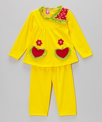 Yellow Heart Top & Pants - Infant