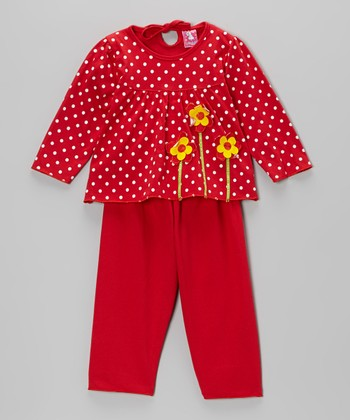 Red Polka Dot Flower Top & Pants - Infant