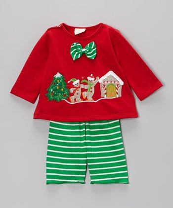 Red & Green Gingerbread Top & Stripe Pants - Infant & Toddler