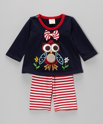 Navy & Red Owl Top & Stripe Pants - Infant & Toddler