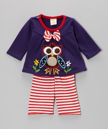 Purple Owl Top & Stripe Pants - Infant & Toddler