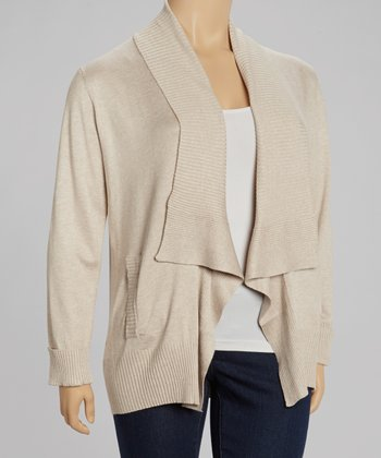 Sand Heather Open Cardigan - Plus
