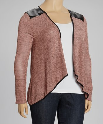 Coral Faux Leather-Trim Open Cardigan