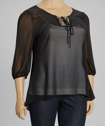 Black Beaded Sheer Peasant Top