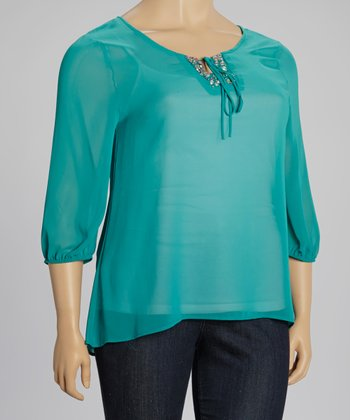 Teal Beaded Sheer Peasant Top