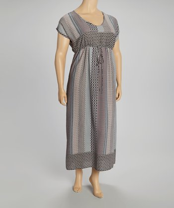 Gray Mosaic Mix Maxi Dress - Plus