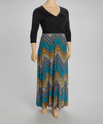 Teal Zigzag Maxi Wrap Dress