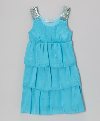 Blue Sequin Tier Ruffle Dress