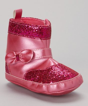 Fuchsia Bow Sequin Boot